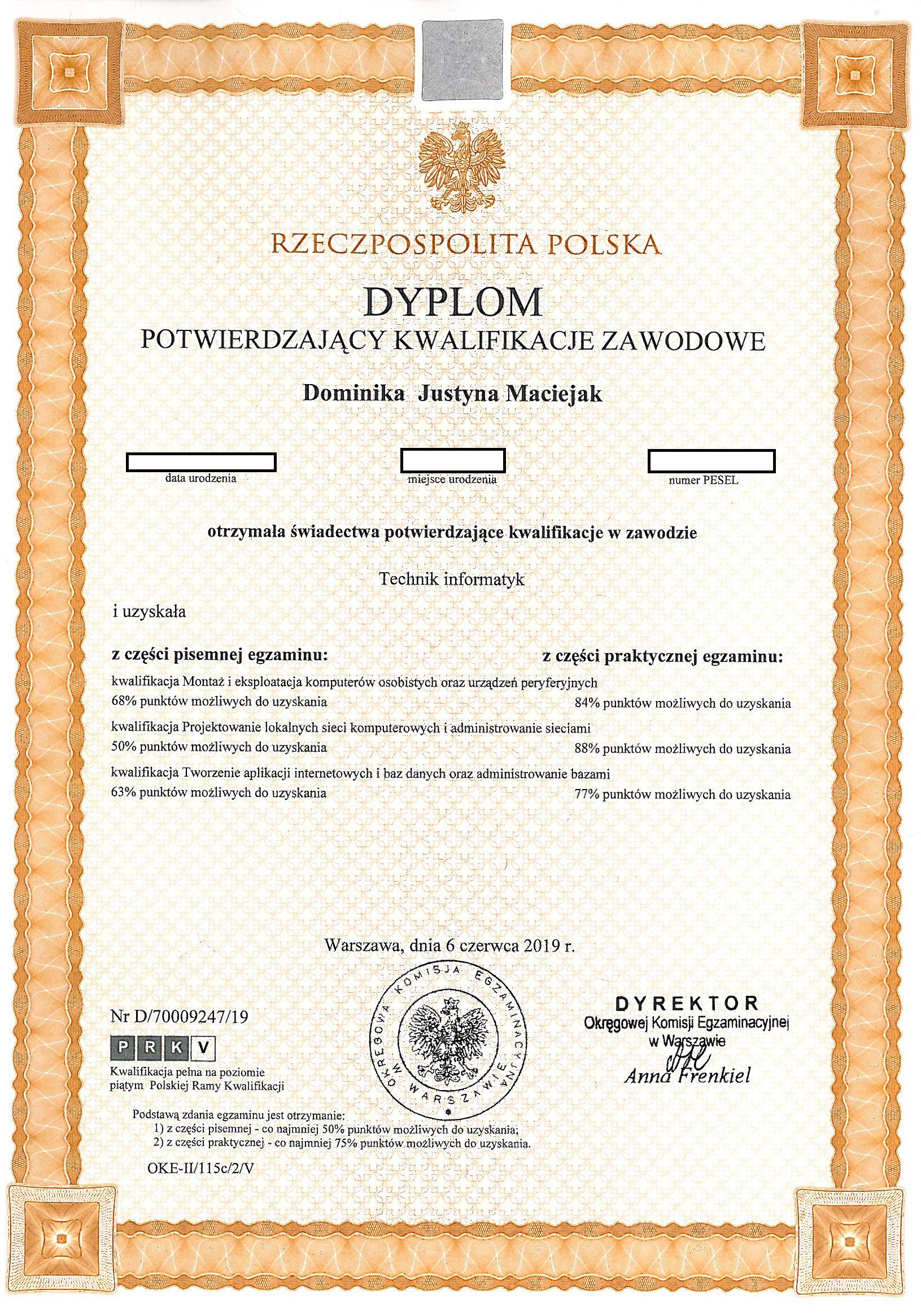 dyplom potwierdzający kwalifikacje w zawodzie