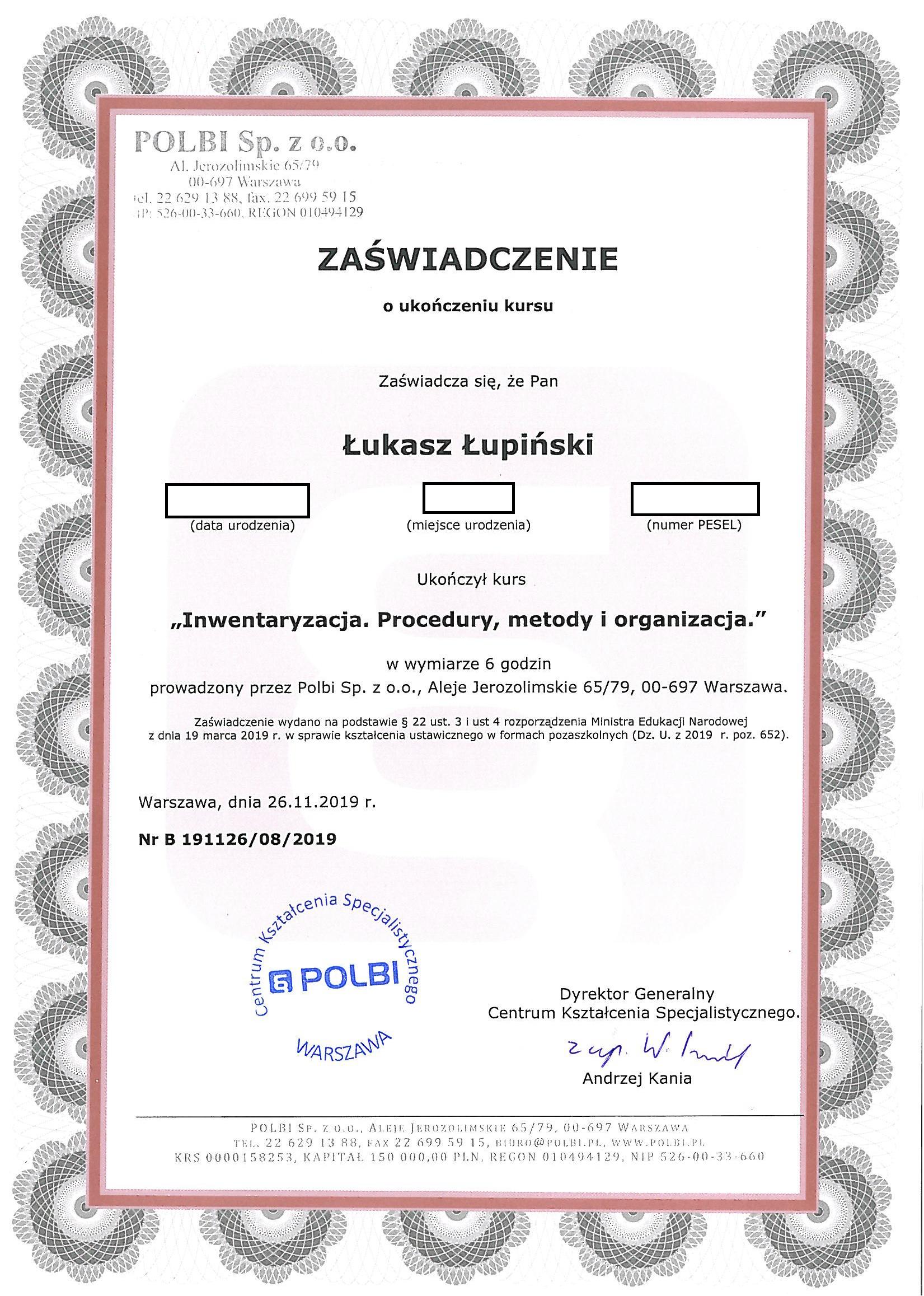 zaświadczenie Łukasz Łupiński